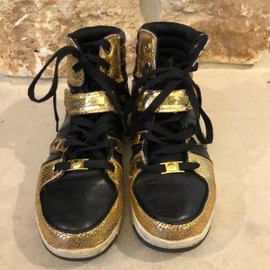Baby Phat Black and Gold Sneakers Sz 9